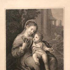 Arte: LITOGRAFÍA DE LA VIRGEN MARÍA Y EL NIÑO JESÚS. LONDRES. FINALES DEL S.XIX. . Lote 187627827