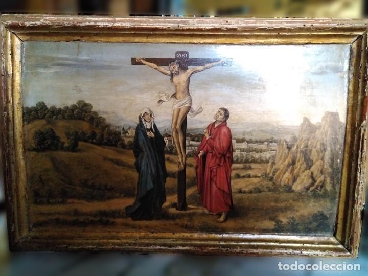 TRÍPTICO, ÓLEO SOBRE TABLA SIGUIENDO MODELOS FLAMENCOS (Arte - Arte Religioso - Trípticos)