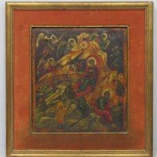 Arte: ANTIGUO ICONO DE LA ADORACION DE LOS REYES MAGOS. OLEO S/ TABLA. Lote 188419047
