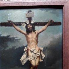 Arte: MAGNIFICA PINTURA CRISTO CRUCIFICADO OLEO SOBRE TABLA. Lote 188477675