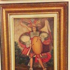 Arte: ÁNGEL ARCABUCERO MUSICAL. OLEO ANTIGUO DE LA ESCUELA DE ARTE CUZQUEÑA DE PERÚ. ÁRCANGEL CON TAMBOR. Lote 188519062