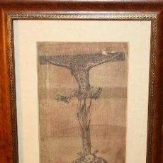 Arte: JESÚS CRUCIFICADO. GRABADO EN TELA. SIGLO XVIII-XIX. . Lote 188571576