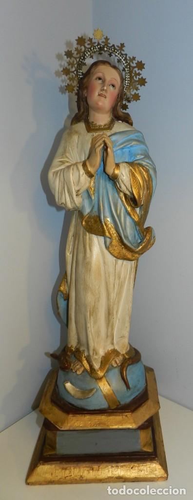 PRECIOS VIGEN- NUESTRA SEÑORA, INMACULADA CONCEPCIÓN- VER FOTOS - MIDE 60 CM,TAL Y COMO SE VE EN LA (Arte - Arte Religioso - Escultura)