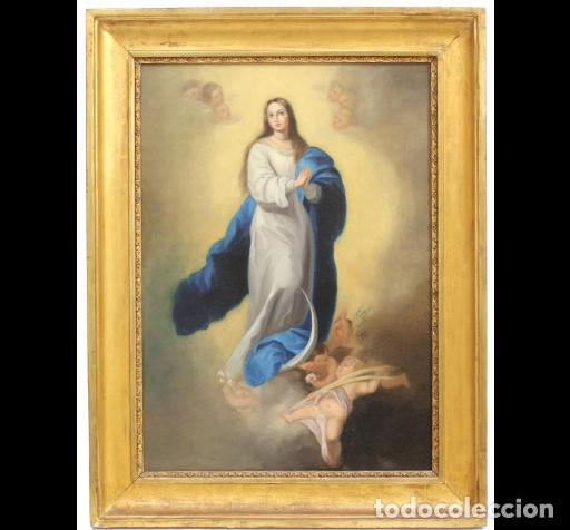 INMACULADA CONCEPCIÓN TIPO MURILLO. SIGLO XIX. 63X45 LIENZO. ESCUELA ANDALUZA. (Arte - Arte Religioso - Pintura Religiosa - Oleo)