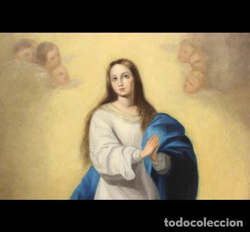 Arte: INMACULADA CONCEPCIÓN TIPO MURILLO. SIGLO XIX. 63X45 LIENZO. ESCUELA ANDALUZA. - Foto 2 - 188772178