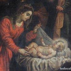 Art: ADORACIÓN DE LOS PASTORES. ÓLEO SOBRE LIENZO. ESC. ESPAÑOLA, SIGLOS XVII-XVIII. MED: 92 X 71 CM.. Lote 188837271
