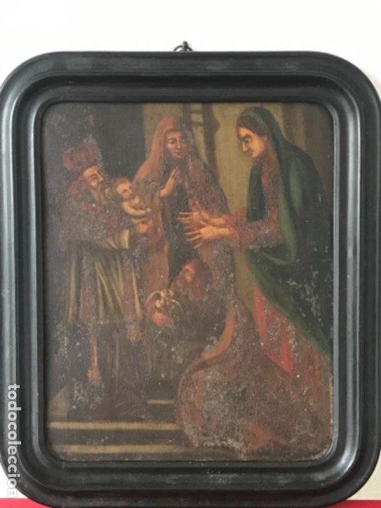 VIRGEN MARÍA Y NIÑO JESÚS OLEO SOBRE METAL. (Arte - Arte Religioso - Pintura Religiosa - Oleo)