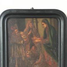Arte: VIRGEN MARÍA Y NIÑO JESÚS OLEO SOBRE METAL. . Lote 189075670
