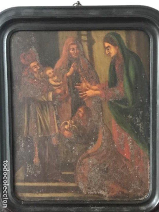Arte: VIRGEN MARÍA Y NIÑO JESÚS OLEO SOBRE METAL. - Foto 2 - 189075670