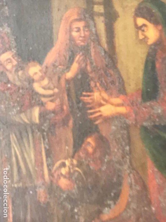Arte: VIRGEN MARÍA Y NIÑO JESÚS OLEO SOBRE METAL. - Foto 3 - 189075670