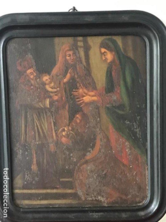 Arte: VIRGEN MARÍA Y NIÑO JESÚS OLEO SOBRE METAL. - Foto 5 - 189075670
