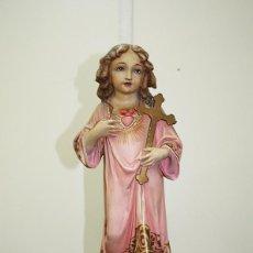 Arte: FIGURA RELIGIOSA ANTIGUA NIÑO JESÚS CON OJOS DE CRISTAL PASTA DE OLOT. Lote 248282405