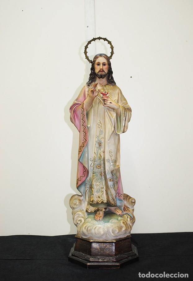 FIGURA RELIGIOSA ANTIGUA PASTA DE OLOT - SAGRADO CORAZÓN DE JESÚS (Arte - Arte Religioso - Escultura)