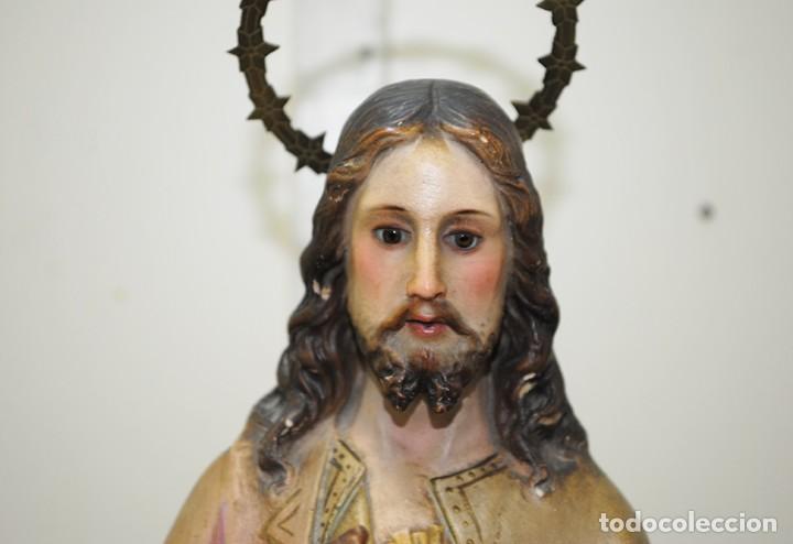 Arte: FIGURA RELIGIOSA ANTIGUA PASTA DE OLOT - SAGRADO CORAZÓN DE JESÚS - Foto 2 - 235732250