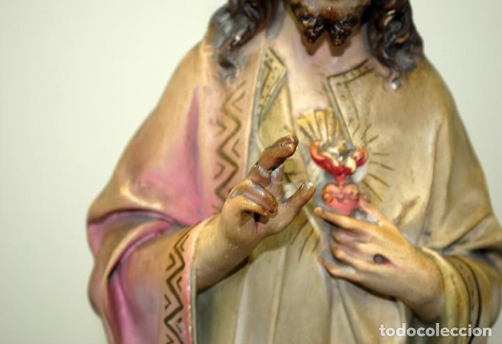 Arte: FIGURA RELIGIOSA ANTIGUA PASTA DE OLOT - SAGRADO CORAZÓN DE JESÚS - Foto 3 - 235732250