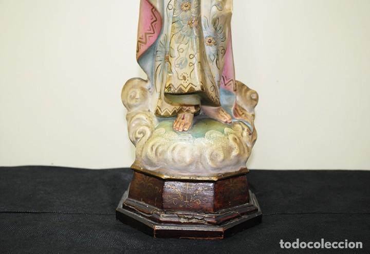 Arte: FIGURA RELIGIOSA ANTIGUA PASTA DE OLOT - SAGRADO CORAZÓN DE JESÚS - Foto 6 - 235732250