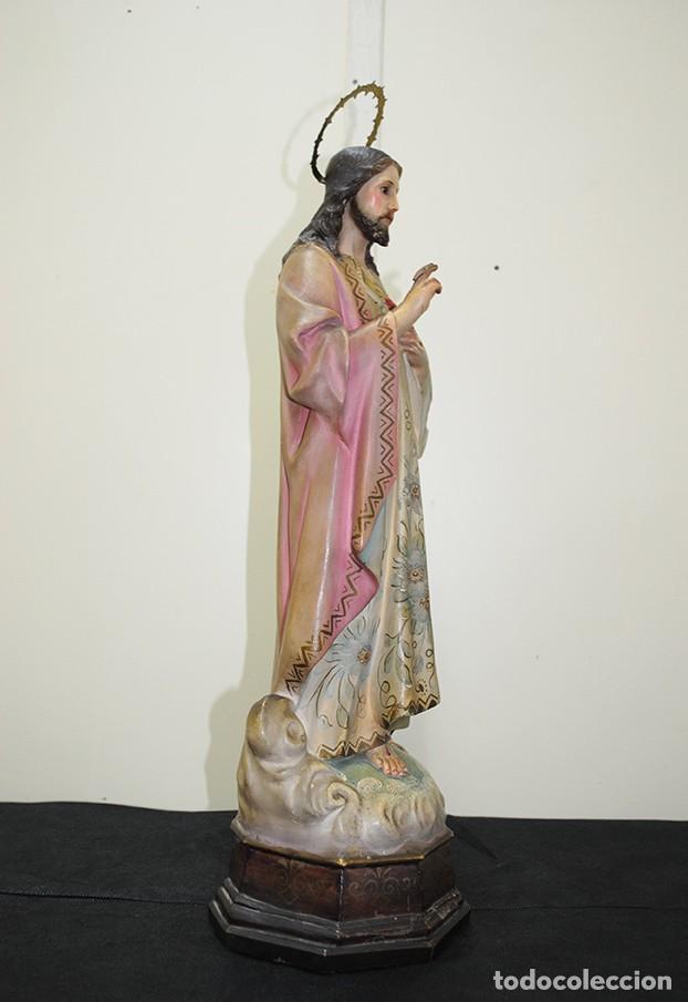 Arte: FIGURA RELIGIOSA ANTIGUA PASTA DE OLOT - SAGRADO CORAZÓN DE JESÚS - Foto 7 - 235732250
