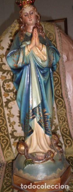 VIRGEN INMACULADA EN MADERA LIVIANA O PASTA DE MADERA (Arte - Arte Religioso - Escultura)