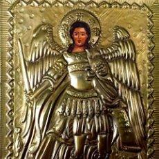Arte: ICONO RELIGIOSO SAN MIGUEL ARCÁNGEL EN LATÓN REPUJADO. Lote 189197670