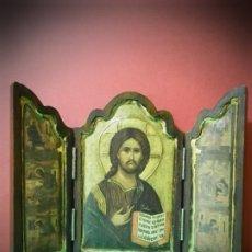 Arte: TRIPTICO JESUS Y SUS DISCIPULOS. REPRUDUCCION DE ICONO TRABAJADO DE FORMA ARTESANAL EN MADERA. Lote 189256118
