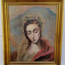 Arte: VIRGEN DE LA LECHE - OLEO SOBRE LIENZO - AÑOS 1930/40 - MARCO DE MADERA DORADA - NO ES MARCO ORIGINA. Lote 189277990