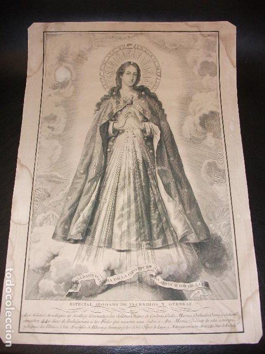 SIGLO XIX GRABADO VIRGEN INMACULADA DE LA CONCEPCION DE LA PAZ ABOGADA DE INCENDIOS GUERRAS RELIGION (Arte - Arte Religioso - Grabados)