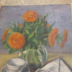 Arte: ORIGINAL. PINTURA EN RETABLO AMBAS CARAS. RAMO DE FLORES, HOMBRE EN UN BAR. MEDIDAS 40 X 35. Lote 189340907