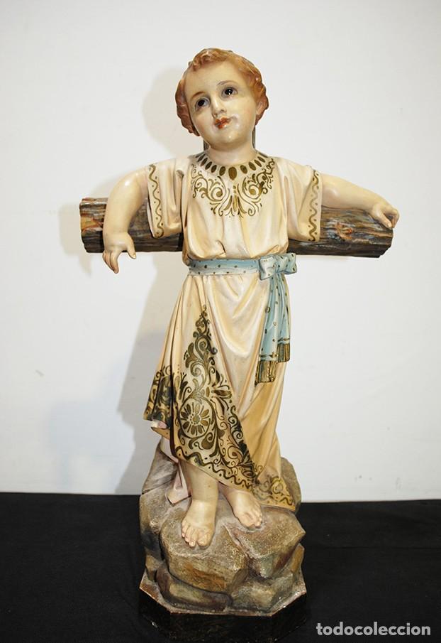 ANTIGUA FIGURA O IMAGEN RELIGIOSA NIÑO JESÚS SOBRE LA CRUZ (Arte - Arte Religioso - Escultura)