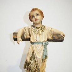 Arte: ANTIGUA FIGURA O IMAGEN RELIGIOSA NIÑO JESÚS SOBRE LA CRUZ. Lote 189354903