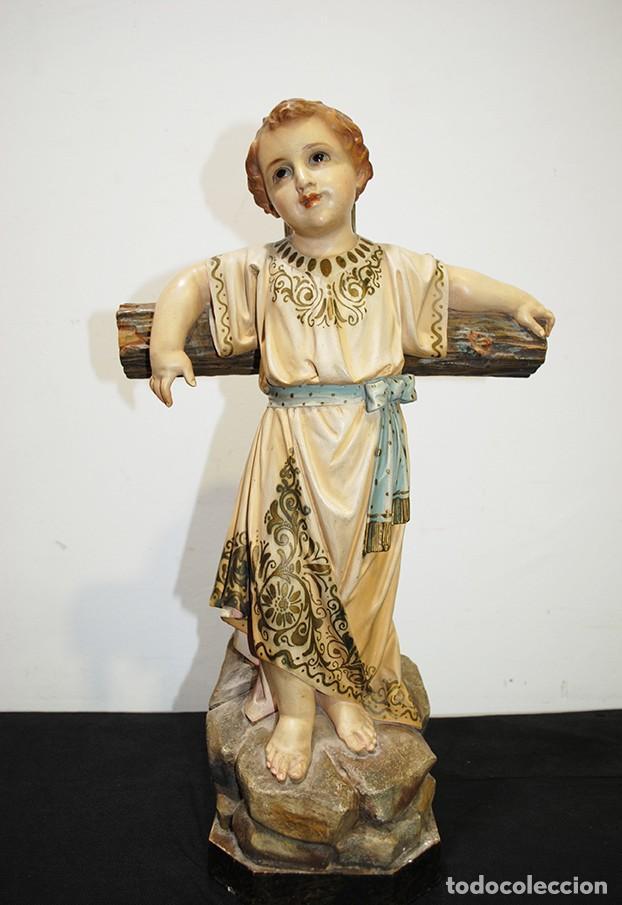 Arte: ANTIGUA FIGURA O IMAGEN RELIGIOSA NIÑO JESÚS SOBRE LA CRUZ - Foto 2 - 189354903