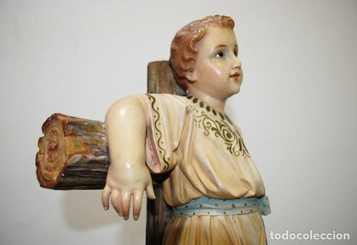 Arte: ANTIGUA FIGURA O IMAGEN RELIGIOSA NIÑO JESÚS SOBRE LA CRUZ - Foto 9 - 189354903