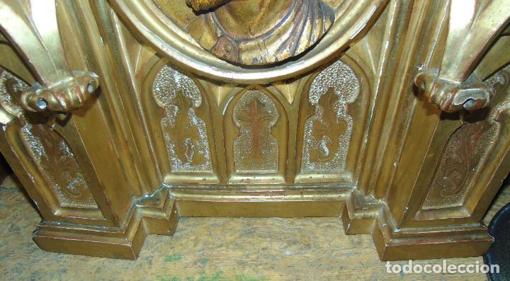 Arte: bonito remate de retablo neogotico, talla madera , pan de oro,1,16 m de altura, ver fotos - Foto 2 - 189397230