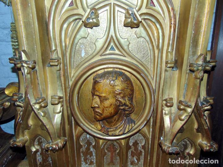 Arte: bonito remate de retablo neogotico, talla madera , pan de oro,1,16 m de altura, ver fotos - Foto 3 - 189397230