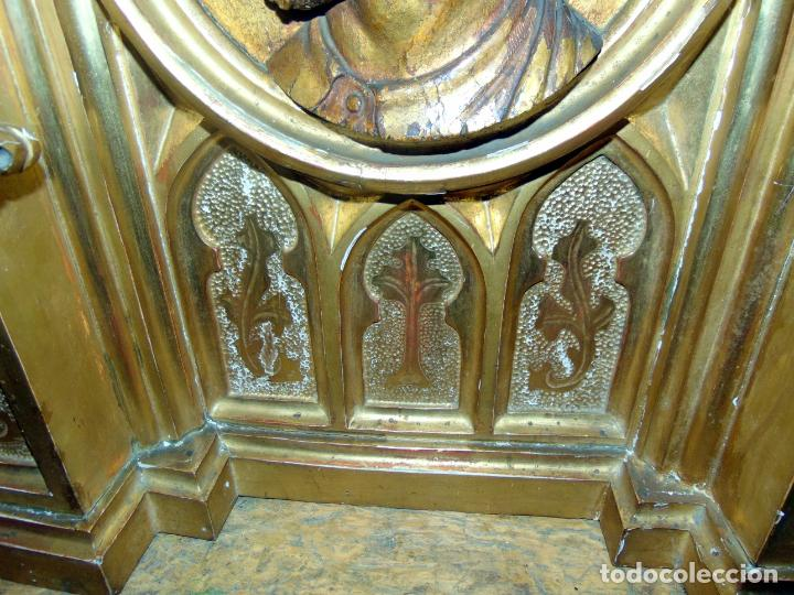 Arte: bonito remate de retablo neogotico, talla madera , pan de oro,1,16 m de altura, ver fotos - Foto 4 - 189397230