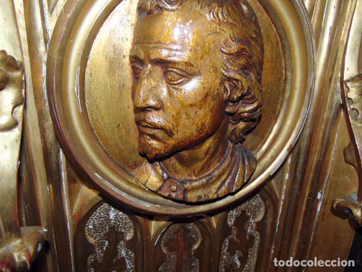 Arte: bonito remate de retablo neogotico, talla madera , pan de oro,1,16 m de altura, ver fotos - Foto 6 - 189397230