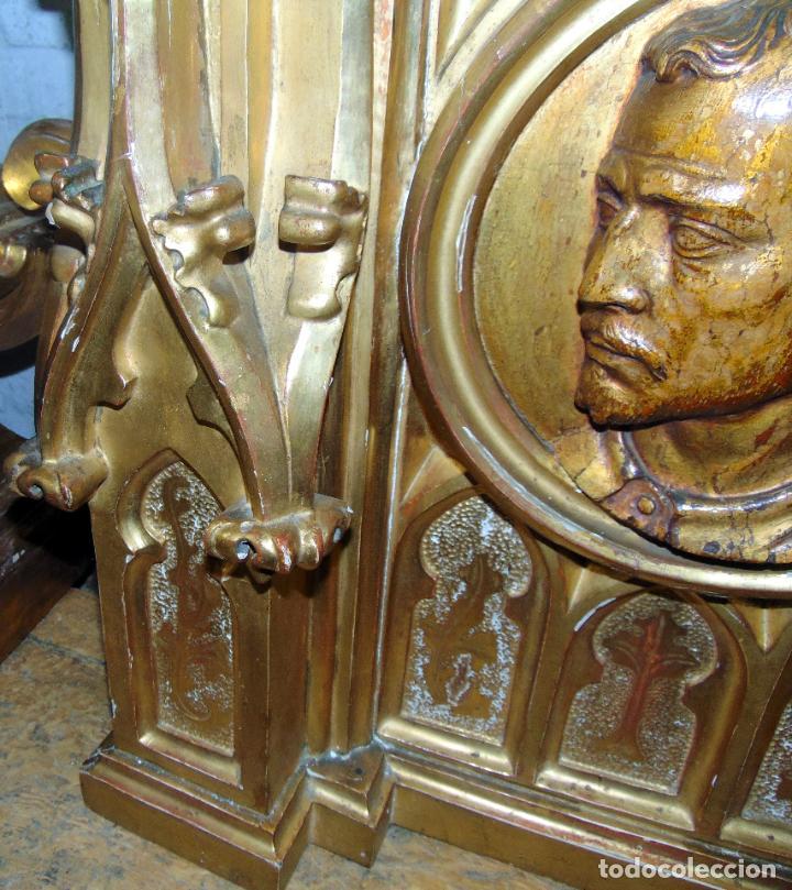 Arte: bonito remate de retablo neogotico, talla madera , pan de oro,1,16 m de altura, ver fotos - Foto 8 - 189397230