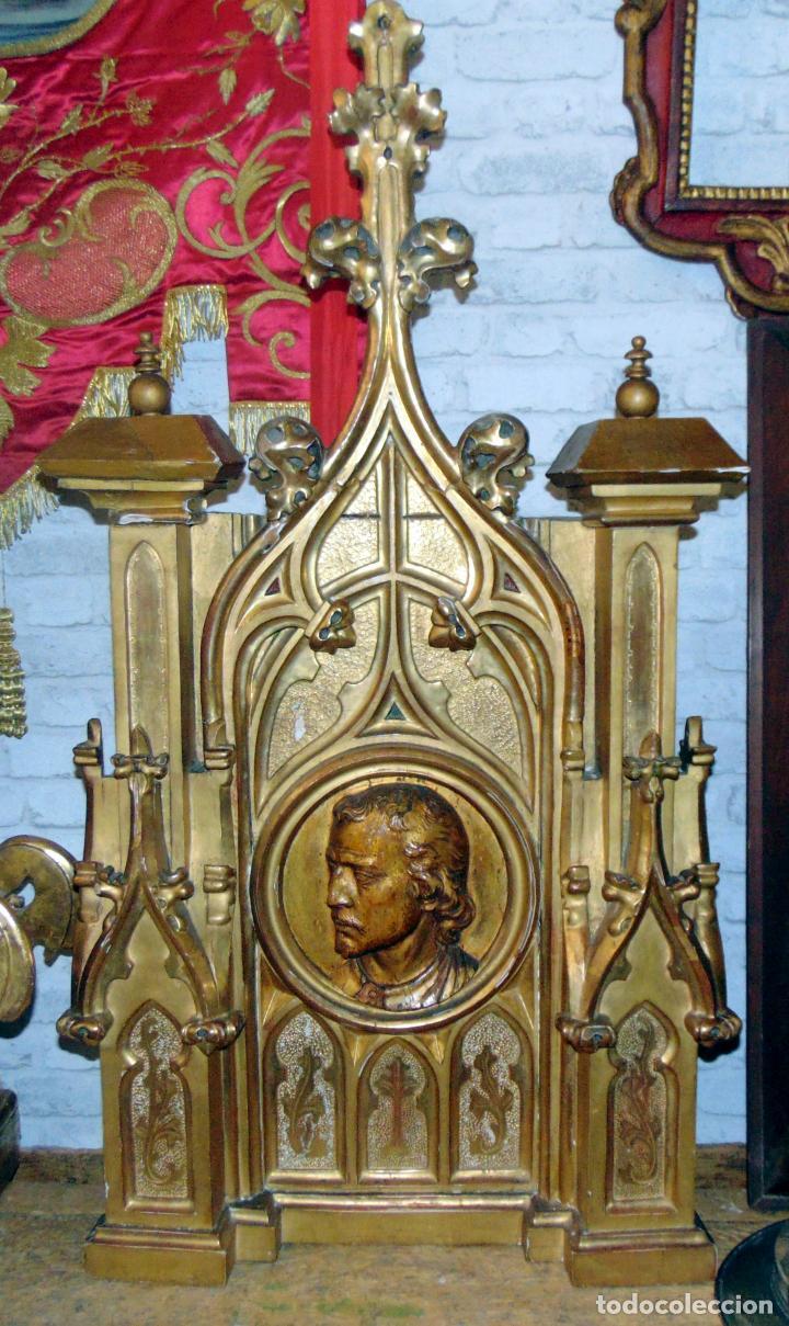 Arte: bonito remate de retablo neogotico, talla madera , pan de oro,1,16 m de altura, ver fotos - Foto 10 - 189397230