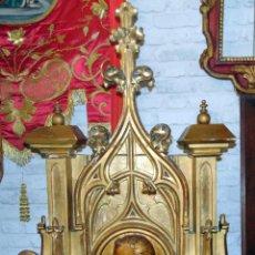 Arte: BONITO REMATE DE RETABLO NEOGOTICO, TALLA MADERA , PAN DE ORO,1,16 M DE ALTURA, VER FOTOS. Lote 189397230