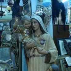Arte: VIRGEN DEL SAGRADO CORAZÓN DE JESÚS TALLA DE MADERA GRANDES MEDIDAS. Lote 189504976