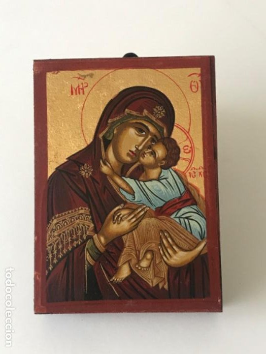 ICONO BIZANTINO HECHO A MANO CON CERTIFICADO LACRADO Y SELLADO SOBRE MADERA. (Arte - Arte Religioso - Iconos)