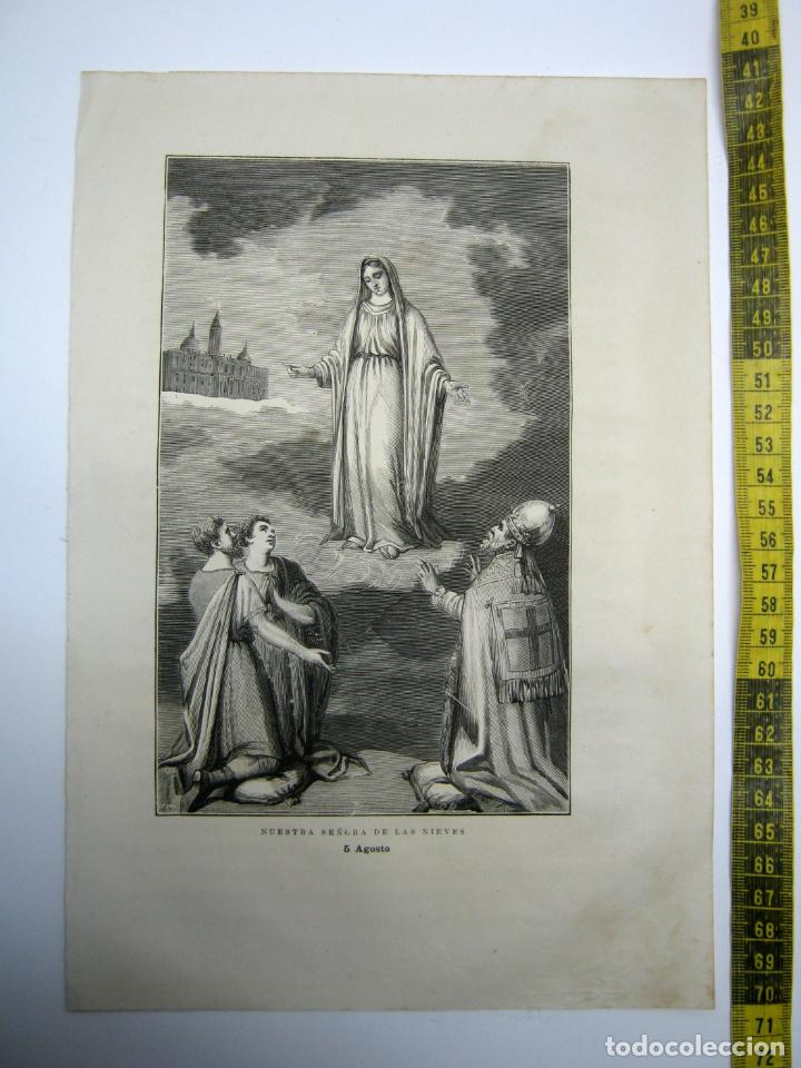 NUESTRA SEÑORA DE LAS NIEVES 5 DE AGOSTO - ESTAMPA TIPO GRABADO - 29 X 20 CM (Arte - Arte Religioso - Grabados)