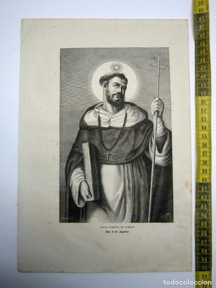 SANTO DOMINGO DE GUZMAN 4 DE AGOSTO - ESTAMPA TIPO GRABADO - 29 X 20 CM (Arte - Arte Religioso - Grabados)