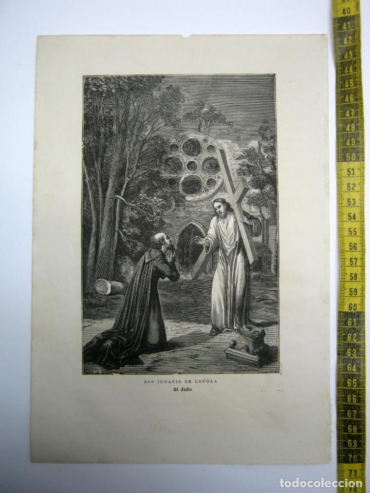 SAN IGNACIO DE LOYOLA . 31 DE JULIO - ESTAMPA TIPO GRABADO - 29 X 20 CM (Arte - Arte Religioso - Grabados)