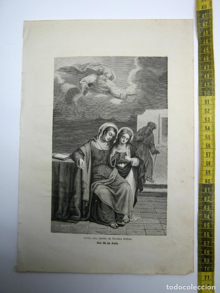 SANTA ANA MADRE DE NUESTRA SEÑORA 26 DE JULIO - ESTAMPA TIPO GRABADO - 29 X 20 CM (Arte - Arte Religioso - Grabados)