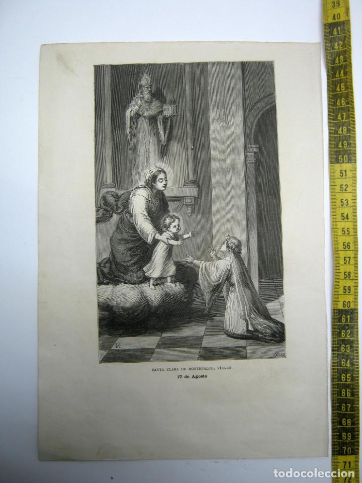 SANTA CLARA DE MONTEFALCO VIRGEN 17 DE AGOSTO - ESTAMPA TIPO GRABADO - 29 X 20 CM (Arte - Arte Religioso - Grabados)