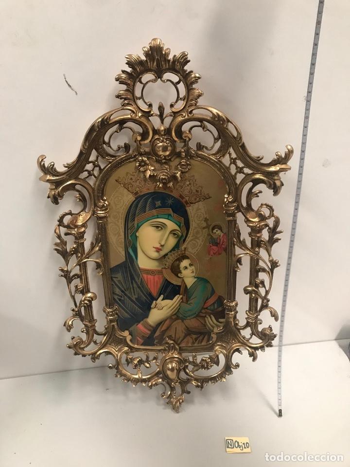 ANTIGUO CUADRO ESMALTADO ESTILO GÓTICO GRAN TAMAÑO (Arte - Arte Religioso - Pintura Religiosa - Otros)