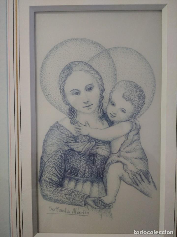 NIÑO JESÚS Y VIRGEN MARIA 35*44 - ORO DE LEY LIQUIDO - ESMALTE AL FUEGO - SOR PAULA MARTIN (Arte - Arte Religioso - Pintura Religiosa - Otros)