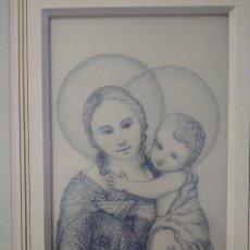 Arte: NIÑO JESÚS Y VIRGEN MARIA 35*44 - ORO DE LEY LIQUIDO - ESMALTE AL FUEGO - SOR PAULA MARTIN. Lote 189714622