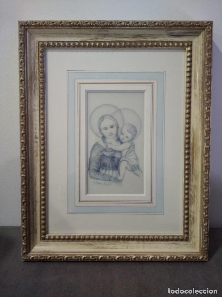 Arte: NIÑO JESÚS Y VIRGEN MARIA 35*44 - ORO DE LEY LIQUIDO - ESMALTE AL FUEGO - SOR PAULA MARTIN - Foto 5 - 189714622