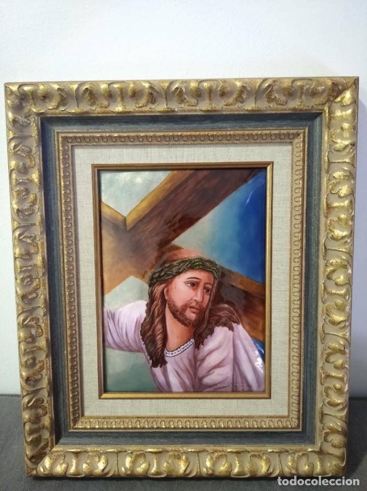 CRISTO CON LA CRUZ 41*49 - ORO DE LEY LIQUIDO - ESMALTE AL FUEGO - SOR PAULA MARTIN (Arte - Arte Religioso - Pintura Religiosa - Otros)
